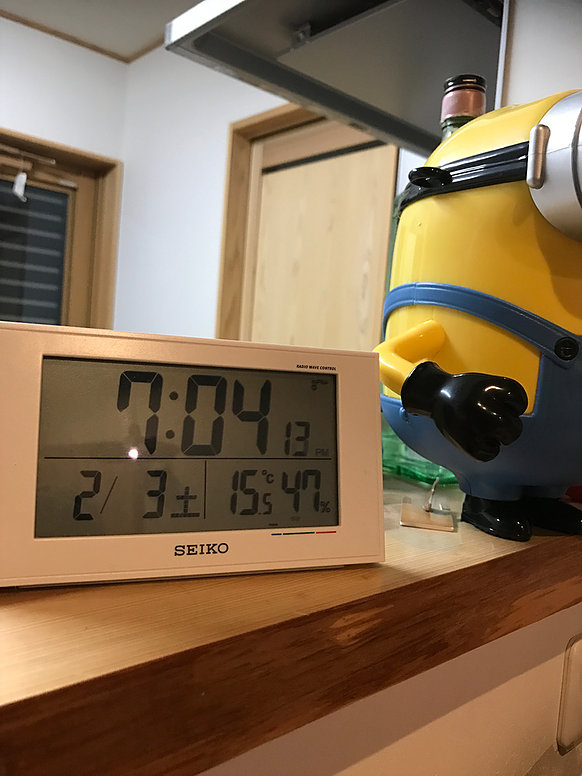 温湿度計の写真温度15度湿度47%